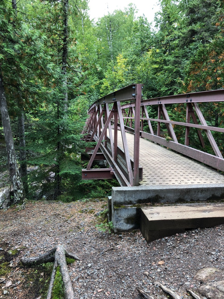 The bridge over the Caribou River at the intersection with the Superior Hiking Trail.