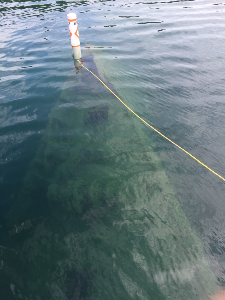 Looking through the water of Lake Superior to the bow of the U.S.S. America shipwreck. The image has the marker buoy with a yellow rope attached to help show the way the wreck lies below the surface.