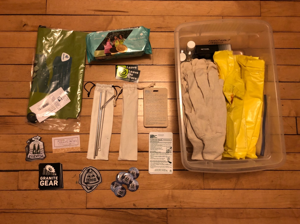 Photo of the prizes that were given away before and after the hike.