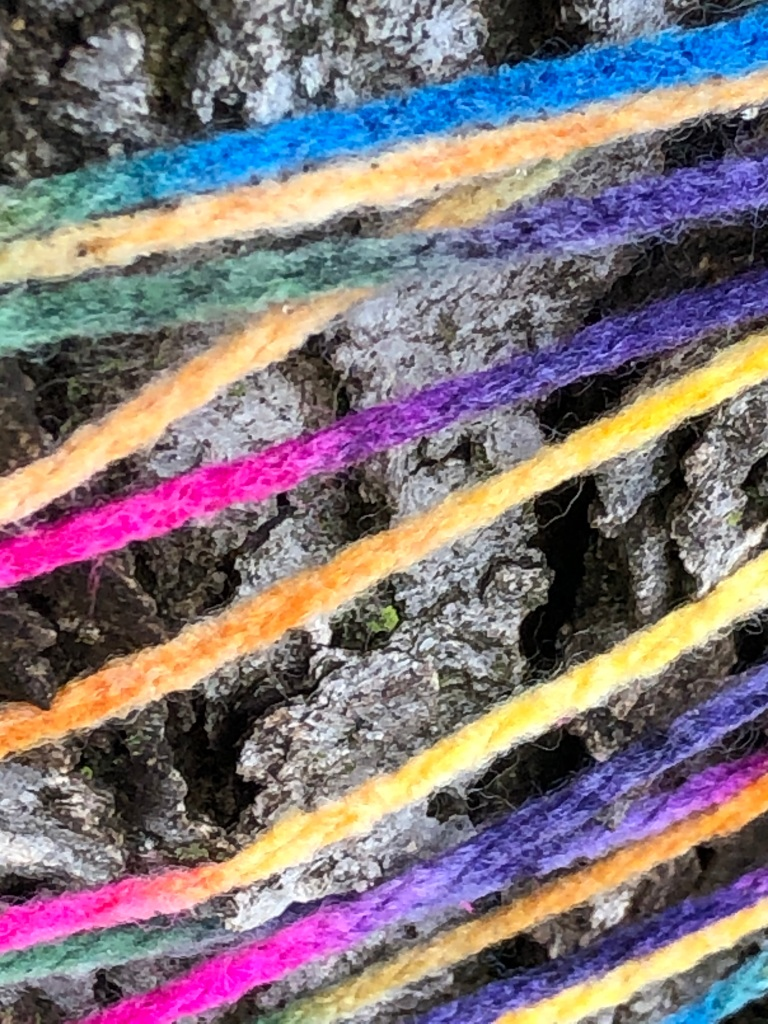 The photo is a close-up of bright, rainbow colored yarn wrapped loosely around a tree.