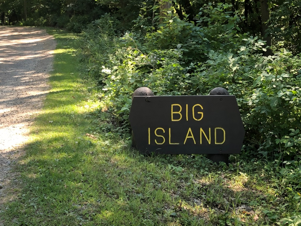 The image has the small Big Island sign low to the ground and next to a gravel road. The sign is dark brown wood with yellow block letters. Behind the sign are bushes and trees.