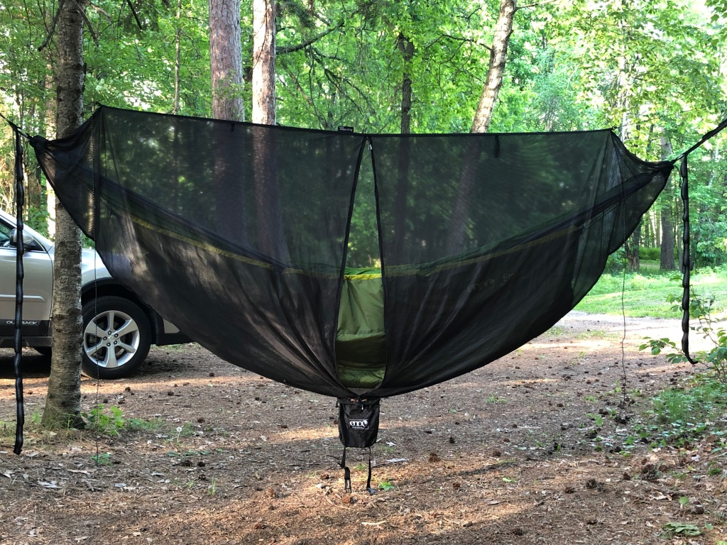 Image is of a green hammock covered in black bug netting hung between two trees. The ground below the hammock is covered in pine needles. There is the front of a car in the background.